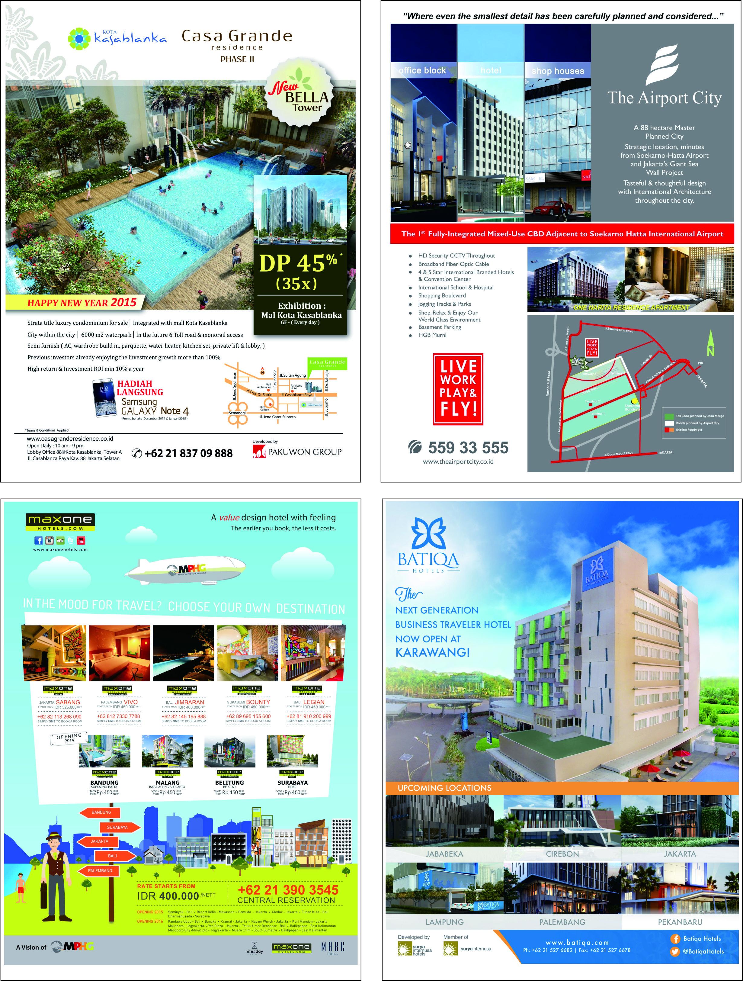 Contoh iklan properti dan hotel di majalah & koran