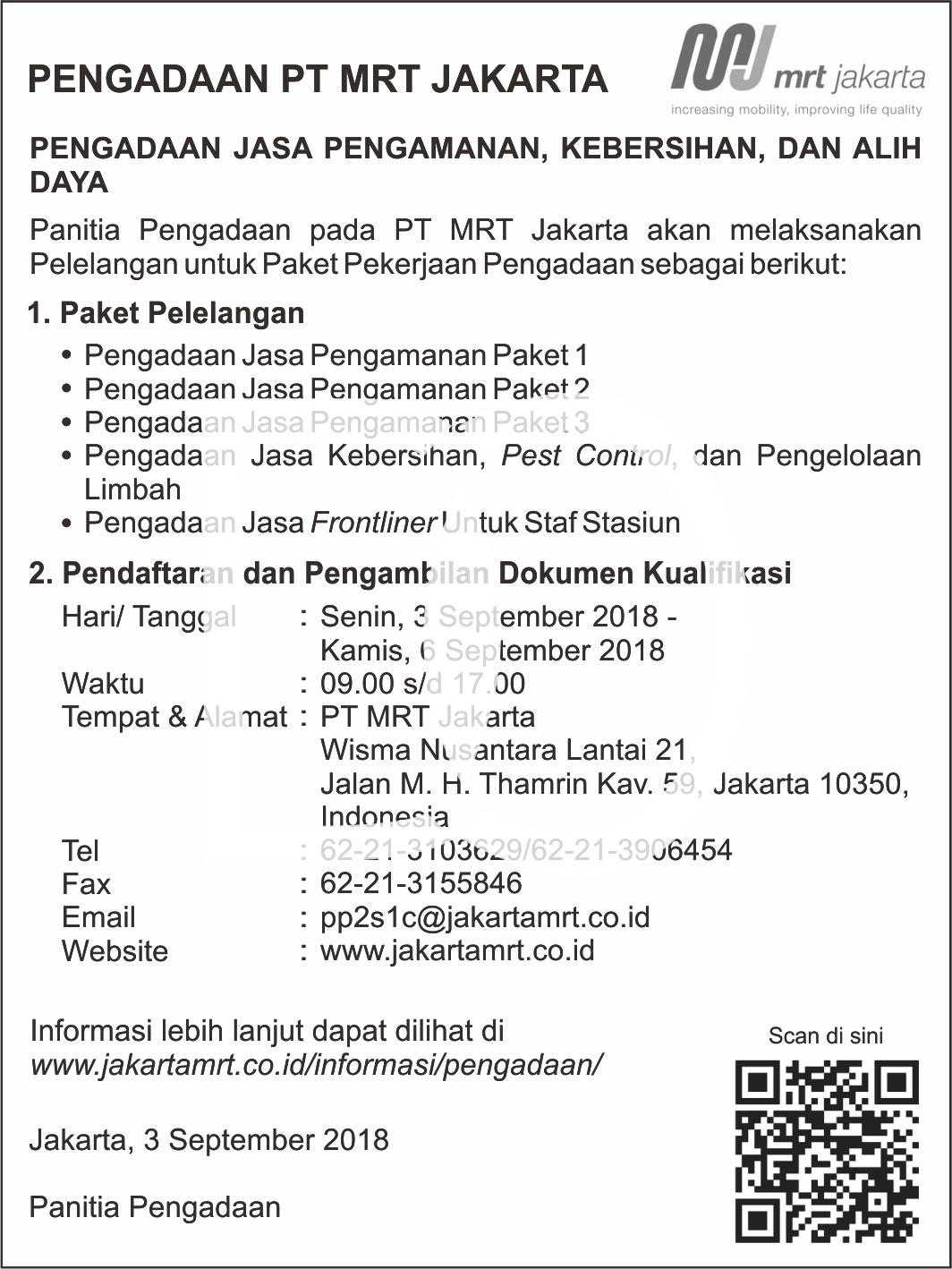Contoh iklan lelang MRT Jakarta