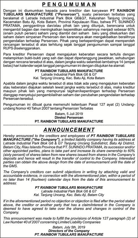 iklan koran pengumuman rups - contoh
